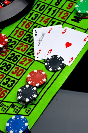 Gambling game on black background