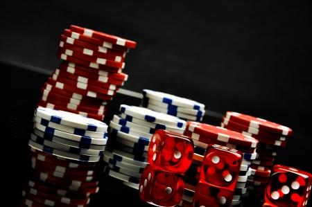 Dark concept of gambling games, black background