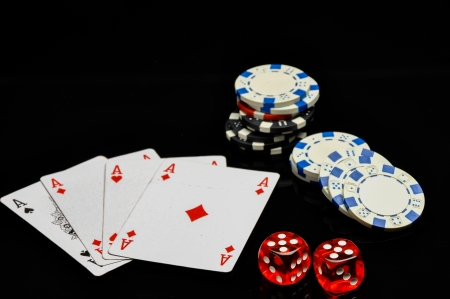Composition od gambling, black background Stock Photo - 22029868