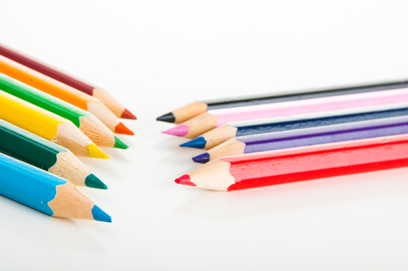 Vivid concept with wooden pencils photo
