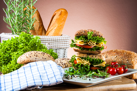 Vivid color, sandwich, healthy food photo