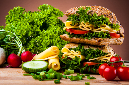 Natural food, saturated sandwich concept photo