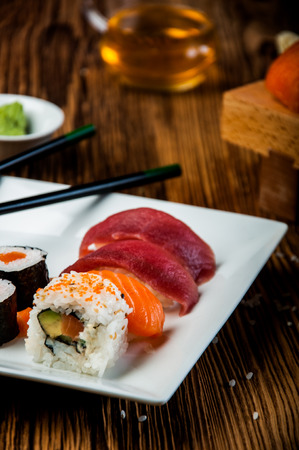 Japanese sushi on the old wooden table