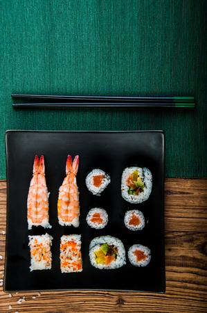 Japanese lunch, fresh sushi set