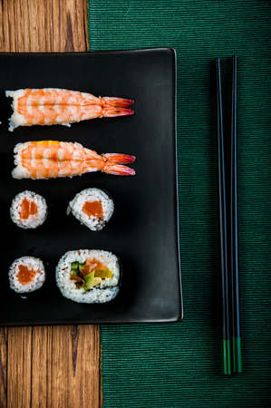 Japanese seafood, sushi set photo