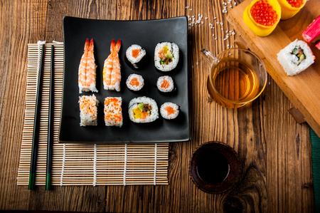 Colorful tasty sushi
