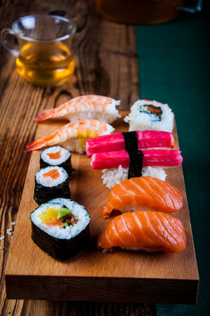 Colorful oriental sushi photo