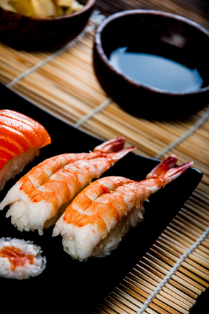 Japanese sushi, oriental seafood photo
