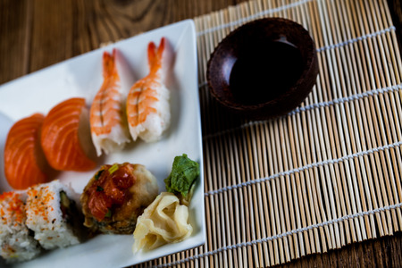 Decorative seafood concept with Japanese sushi Stock Photo