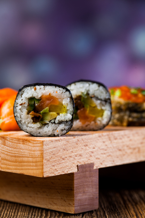 Decorative seafood concept with Japanese sushi photo