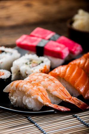Tasty sushi set, Japanese food Stock Photo