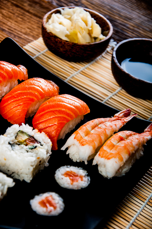 Sushi set on the wooden table Stock Photo