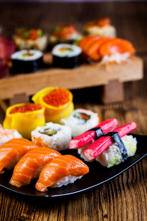 Fresh, healthy and tasty oriental sushi with seafood photo