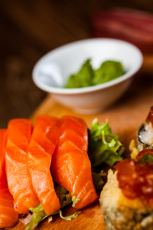 Colorful Japanese theme with sushi Stock Photo