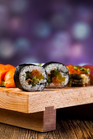 Colorful Japanese theme with sushi photo