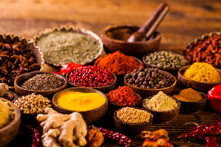 curry spices: Oriental theme with Asian seasoning
