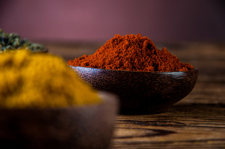 variability: Traditional Asian concept with spices in wooden bowls Stock Photo