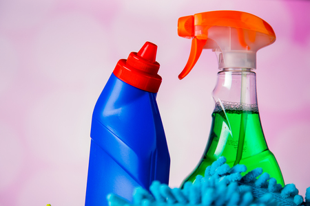 Plastik: Cleaning equipment on light background Stock Photo