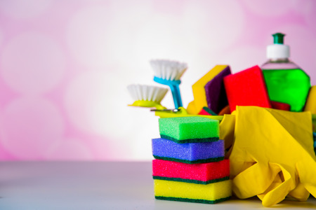 plastik: Cleaning set on blue vivid background Stock Photo