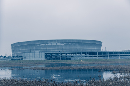 fueled: Ambient cold tone stadium in Wroclaw Poland Editorial