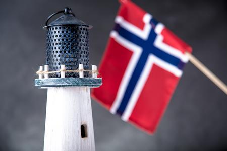 Norwegian lighthouse, natural seaside concept