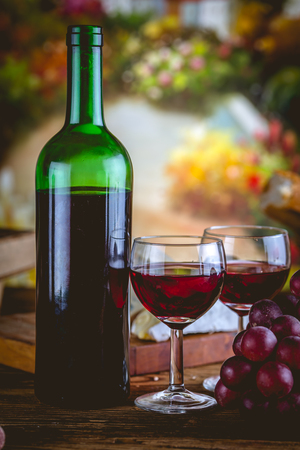 Bottle of wine, Mediterranean concept, ambient light