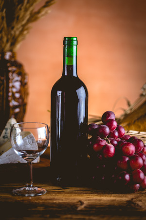 ambient light: Bottle of wine, Mediterranean concept, ambient light