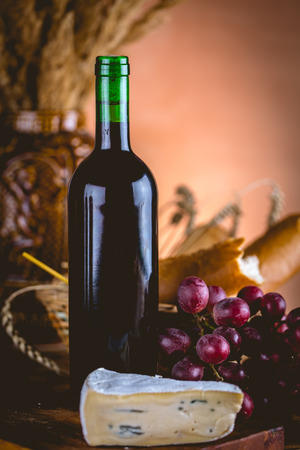 Bottle of wine with cheese, Mediterranean concept