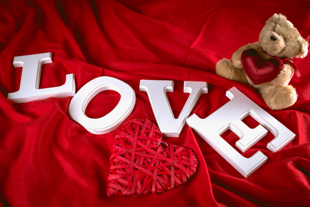 Valentine red background with letters, love concept