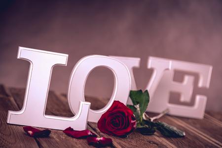 Vintage valentine concept with love Stock Photo