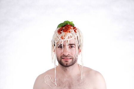 Funny man with spaghetti on head, white background Stock Photo