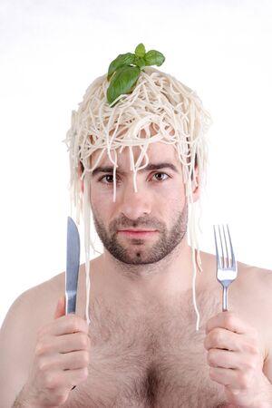 Funny man with spaghetti on head, white background Stock Photo