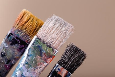 Close up of different paint brushes