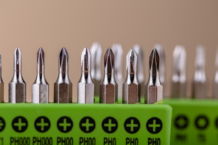Close up macro shot of bits for screwdrivers