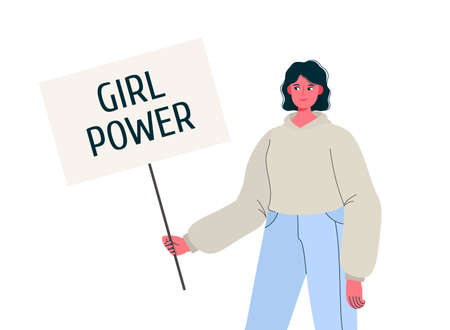 Young woman holding banner or placard with phrase girl power. Feminists social movement. Organized activity for women rights and interests, equality of sexes campaign. Vector flat cartoon illustration Stock Illustratie