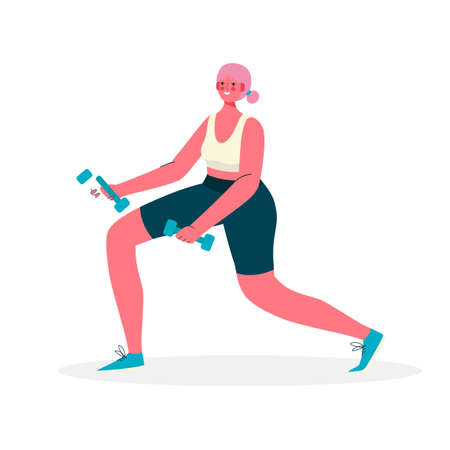 Woman in sportswear doing lunges with dumbbells for beautiful thighs and in Gym. Woman activities. Healthy lifestyle, Fitness , Workout, Wellness Concept. Cartoon flat vector illustration.