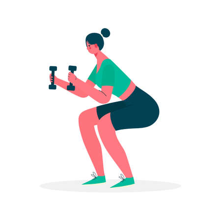 Woman doing exercise squat with dumbbells in sportswear. Woman get perfect butt and legs with exercise. Weight loss. Healthy lifestyle. Woman activities. Vector illustration in flat cartoon style.