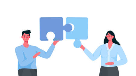 Puzzle relationship concept. Team metaphor. Couple connecting puzzle elements.Vector cartoon illustration. Relationship, friendship or coworkers. Man and woman on white isolated background