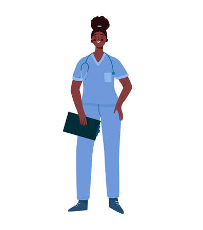 Young professional black woman doctor isolated on white background. Medical specialist. Medical staff doctor nurse therapist surgeon professional hospital worker. Cartoon flat vector illustration Illustration