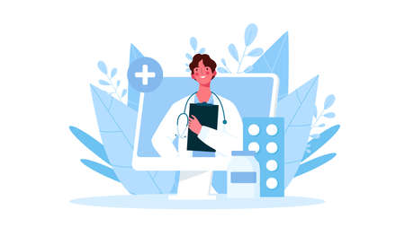 Online medical consultation, support. Online doctor. Healthcare services. Family male doctor with stethoscope on the laptop screen. Vector illustration for websites landing page templates Stock Illustratie