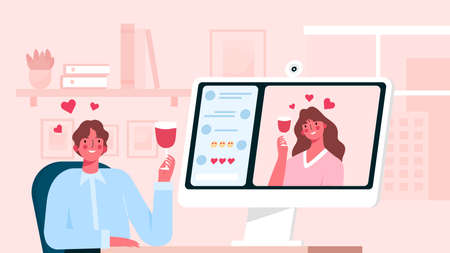Virtual relationships. Online date during quarantine and self-isolation, woman talking and drinking wine with her partner via video chat, virtual relationship while distancing, man and woman in love ベクターイラストレーション