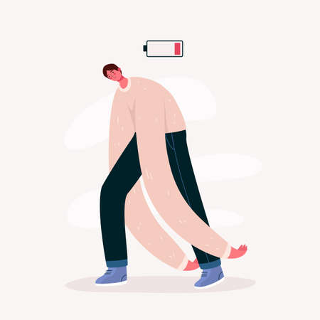 Emotional burnout man with low battery. Young overworked man feeling exhausted. Hard work. Psychological disorder, apathy idea. Deadline, stress, depression and fatigue concept. Vector illustration Иллюстрация