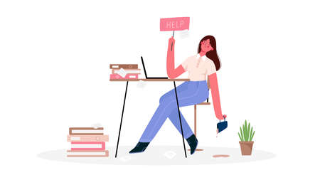 Emotional burnout woman, tired of the huge amount of work, sitting at her working place with laptop in office and holds the sign Help. Deadline, stress, depression at work.Hard work.Vector illustration
