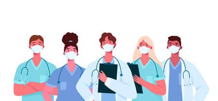 Coronavirus 2019-nCoV. Set of doctors characters in white medical face mask. Stop Coronavirus concept. Medical team doctor nurse therapist surgeon professional hospital workers, group of medics. Vector Illustration