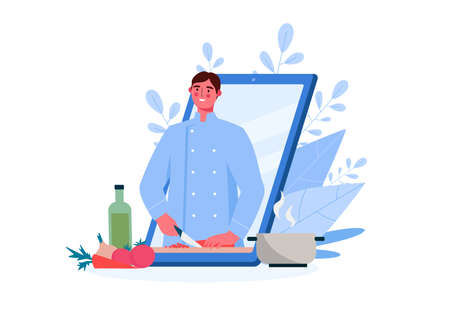 Online culinary school. Online recipe, Man chef teaches cooking new recipe. Food Blog, channel. Video tutorial. Online education, distance learning, webinars. Flat Cartoon Vector Illustration.