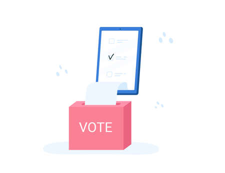Voting online, e-voting, election internet system, survey. Concept of online choices with box and bulletins on smartphone screen. Checklist online, check screen survey. Vector illustration Ilustrace