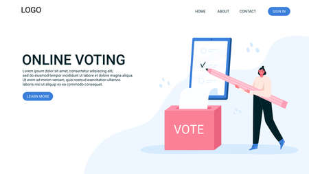 Voting online, e-voting, election internet system, survey. Tiny woman is filling out a paper survey. Concept of online choices with box, bulletins on smartphone screen. Checklist online. Landing page. Ilustrace