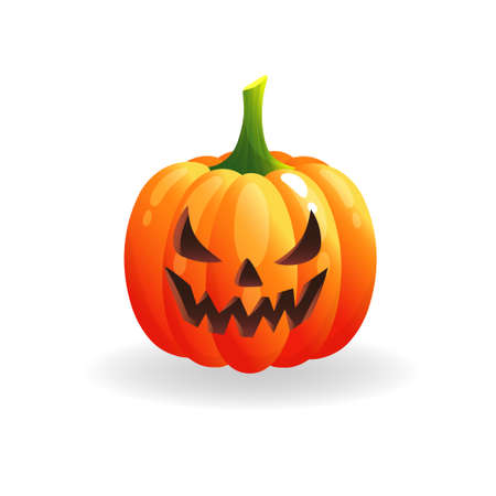 Spooky Halloween pumpkin with scary face. Orange pumpkin on white background. Autumn holidays. Template for greeting card poster, brochure, flyer. Vector cartoon illustration. Иллюстрация