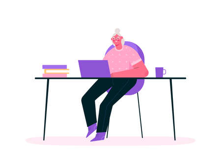 Remote work or senior education online. Old woman working at home office, sitting at desk in room, looking at computer screen and talking with colleagues online. Home office. Flat vector illustration.