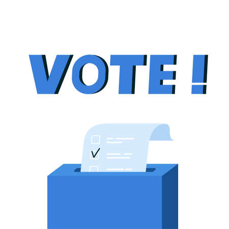 Vote box with checklist. Putting paper in ballot box. Election concept. Flat design vector illustration, can be use for landing page, web, ui, banner, flyer, poster, template.